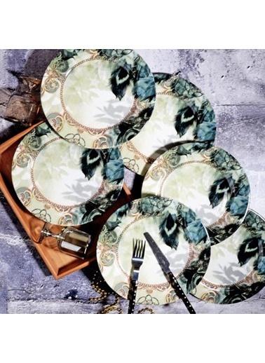 Kosova POR-0712 Kosova Srv-0007 6'Lı 26 Cm Yuvarlak Tüy Servis Tabağı Por-0712 Renkli